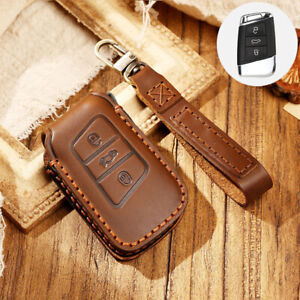 For VW Jetta A7 Leather Remote Key Case Cover Keychain For Skoda Superb A7 Brown