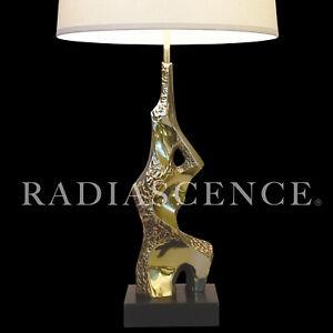LAUREL MAURIZIO TEMPESTINI MODERN ATOMIC BRUTALIST SCULPTURE BRASS TABLE lamp