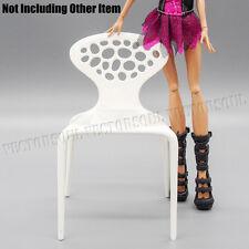 1:6 White Backrest Chair Plastic Dollhouse for Barbie Furniture Miniature Decor