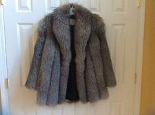 Vintage silver fox fur coat jacket Flora Manfredi monogrammed satin lined 1980s