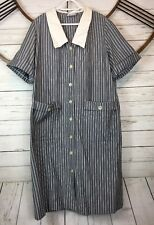 Vtg Amy Adams Neiman Marcus Button Shift Dress Plus Size Gray White Striped