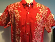 Paikaji Red Hawaiian Aloha Shirt Okinawa Hibiscus Flower Pineapple Fruit EUC