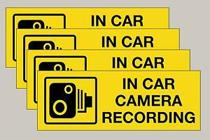 4 Double sided Yellow in car CCTV recording stickers taxi minibus Free 1st P&P