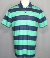 Nike Golf Dri Fit Standard Fit Green/Blue Polyester Polo Shirt Men's Size Large