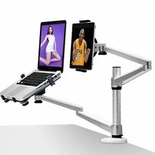 360º 2 in 1 Rotating Height Adjust Stand Mount Dual Arm Laptop&iPad /Tablets PC