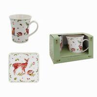 Leonardo Winter Deer Fox Hare Christmas Coffee Tea Mug & Coaster Boxed Gift Set