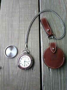 Marlboro  Swiss Army Men's Pocket Watch (Rare)  With Leather Case pocket chain