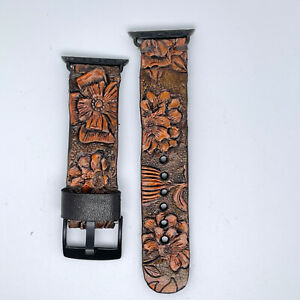 Apple Watch Band, Hand Tooled Leather Western Flowers Brown 38/40mm, 42/44mm