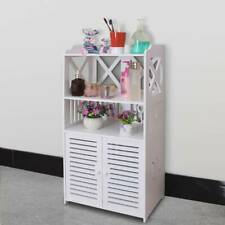 White Wooden Bathroom 3 Tier 2 Door Cabinet Shelf Cupboard Bedroom Storage Unit