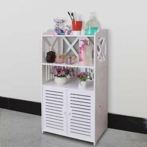 White Wooden Bathroom 3 Tier 2 Door Cabinet Shelf Cupboard Bedroom Storage Unit