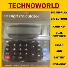 12 DIGIT CALCULATOR,BIG DISPLAY BUTTONS,HARD KEY,DUAL POWERED,SOLAR & BATTERY