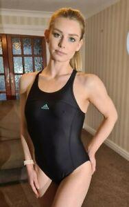 """Shiny Black White Swimsuit Adidas Lycra Spandex Swim Costume S UK 8 32"""""""