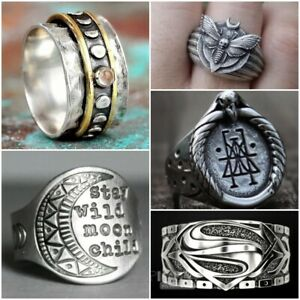 Vintage Superman Ring 925 Silver Punk Band Rings Men Women Gothic Party Jewelry