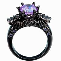 Black Gold Filled Winged Skull Ring With Purple Cubic Zirconia Various Sizes