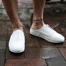 ByTheR Men's Solid Casual Sneakers Slip-on Faux Leather Mule Slippers New