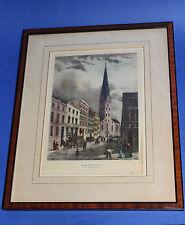 HAMBURG PETRIKIRCHE + BERGSTRASSE um 1845 Stich coloriert im Biedermeierrahmen