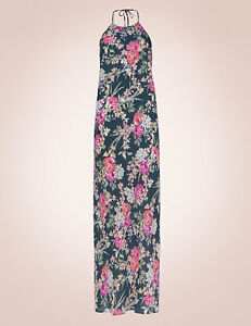 M & S ROSIE FOR AUTOGRAPH GREEN MIX FLORAL MAXI NIGHTDRESS