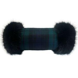 Black Watch Wool Tartan Hand Muff Warmer Gloves with Black Faux Fur Trim