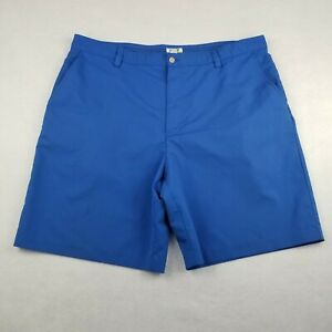 """Izod Blue Golf Chino Shorts Size 40 9"""" Ins Flat Front Vented Adult PerformX Poly"""
