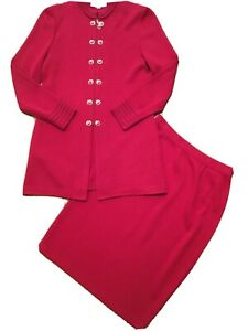 St John Marie Gray Jacket Skirt Suit Red Size 8 Monogram Buttons