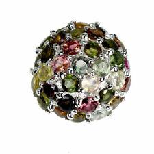 TOP TOURMALINE RING : Natürliche Multi Farbe Turmalin Ring Sterlingsilber R138