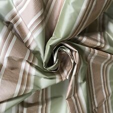SAGE BROWN & RED STRIPE SILK TAFFETA DESIGNER FABRIC 3  YARDS