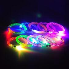 LED Light Up Flashing Bracelet Acrylic Wristband Glow Blinking Party Club UK