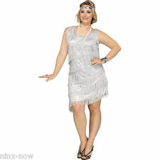Black Shimmery Flapper Womens Plus Size Costume 2x