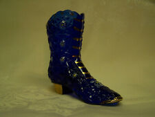 Vintage FENTON Handpainted Signed Cobalt Blue Shoe