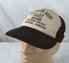 Vtg Talmage Mini Mart Trucker Hat Snapback Cap Mesh Kansas Brown