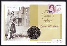 2002 reine mère Memoriam Housse AFRICA LIBERIA TIMBRE ST HELENA monnaie NUMISBRIEF