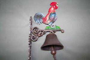 Grande Campana Campanello Porta Rustico Door Bell Ghisa Gallo Campana Parete