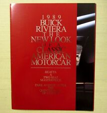 1989 ORIGINAL BUICK RIVIERA BROCHURE Fold Out Park Avenue Ultra w/purchase draft