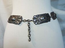 Vintage Conchos Silver tone Belt ~marked E Made in Spain~29/30~Concho~Wester n