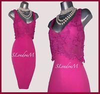 Karen Millen UK 12 Hot Pink Floral Lace V Neck Party Prom Cocktail Pencil Dress