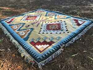 Large -XL Yellow Ethnic Navajo Indian Cotton Throw Aztec Rug Blanket Tapestry