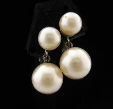 Vogue GLASS FAUX PEARL EARRINGS Vintage Silvertone CLIP ON Costume Jewelry Sign
