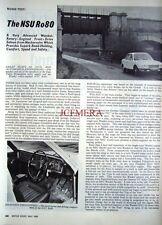 Original 1969 NSU 'Ro80' Motoring Magazine Car Report (4-Sided Cutting)