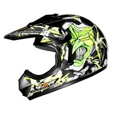 M2R YOUTH MOTOCROSS HELMET 'JESTER' NEW! KIDS SMALL Black/Grn  AWESOME GRAPHICS