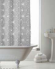 Country Club Rideau De Douche 180x180 Skandi Gris Géométrique salle de bain Blanc Moderne