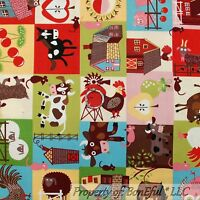 BonEful FABRIC FQ Cotton Quilt Block Farm Barn Kitchen Rooster Horse Owl Cow Pig