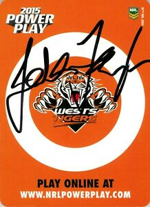 ✺Signed✺ 2015 WESTS TIGERS NRL Card JASON TAYLOR Power Play