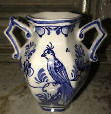 "Delft Blue White Handled Small Vase Signed 89 4"" Tall EUC"