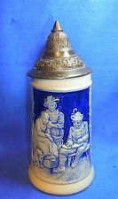 Antique German Tin Top Beer Stein Bavria House Music Scene 1/4 L. #X