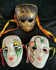 3 VINTAGE PORCELAIN AND METAL WALL DECORATIVE FACE MASKS VENETIAN STYLE