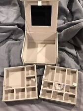 New Authentic Swarovski Crystal Jewelry Box Silver Leather Finish #5234569