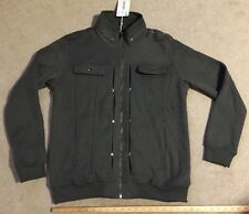 Doublju Mens Highneck Zip Up Jacket Charcoal Large New with Tags NWT