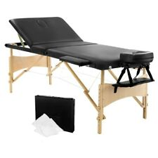 Portable Wooden 3 Fold Massage Table Chair Bed Black 70 cm Masseuse Furniture