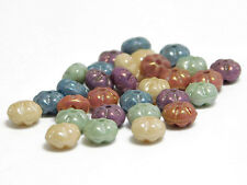 6x3mm Pastel Gemtone Luster Czech Glass Ribbed Rondelle Beads (30) #3087