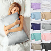 (Set of 2) - Solid Soft Charmeuse Satin Pillow Cases - Queen/King